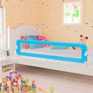 Barierka do łóżeczka dziecięcego niebieska 180x42cm poliester VidaXL