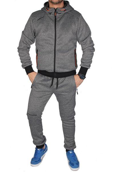 550a05d8b Dres Męski Komplet Dresowy Bluza z Kapturem i Spodnie Joggery K1208 SzaryM  zdjęcie 1 ...