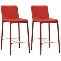 Krzesła Barowe, 2 Szt., Czerwone, Sztuczna Skóra