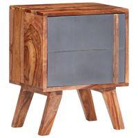 Szafka nocna, szara, 40 x 30 x 50 cm, lite drewno sheesham