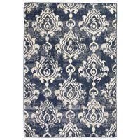 Nowoczesny dywan, wzór Paisley, 80 x 150 cm, beżowo-niebieski