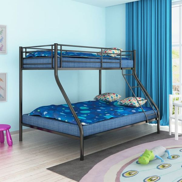łóżko Piętrowe Dla Dzieci Z Czarną Metalową Ramą 200x140200x90