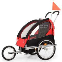 Rowerowa przyczepka dla dzieci/wózek 2-w-1, czarny i czerwony