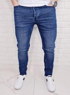 Niebieskie jeansy meski slim fit zwezane Blue-1 - 33