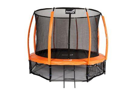 Trampolina Ogrodowa Z Wewnętrzną siatką Jumpi Maxy Comfort PLUS 374cm/12ft Pomarańczowa