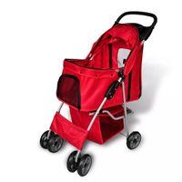 Wózek spacerowy dla zwierząt, czerwony