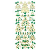 NAKLEJKI BROKATOWE - CHOINKI GOLD & GREEN 44 SZT. DALPRINT