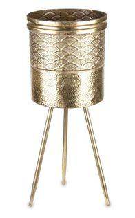 Osłonka kwietnik trójnóg złota metalowa 62 cm