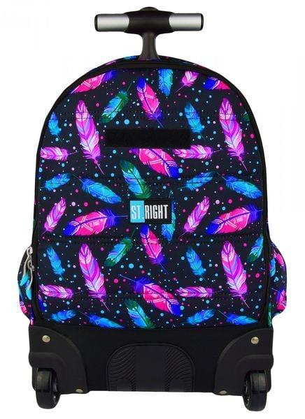 5382dd99311d3 Plecak szkolny młodzieżowy na kółkach ST.RIGHT czarny w kolorowe piórka