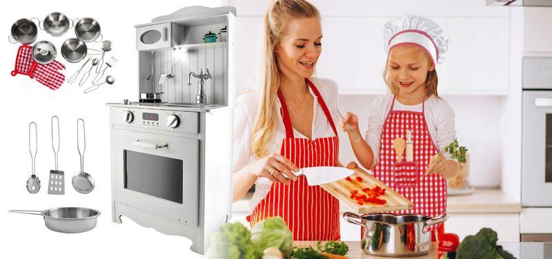 Kuchnia Drewniana Dla Dzieci z Oświetleniem + metalowe garnki U31G zdjęcie 2