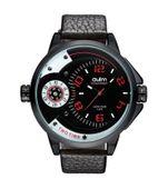 Męski Klasyczny Zegarek Oryginalny Wygląd Dwa Czasy Skóra Duży Masywny