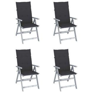 Lumarko Rozkładane krzesła ogrodowe z poduszkami, 4 szt., lita akacja