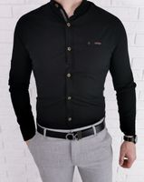 Czarna koszula meska slim fit ze stojka ozdobna blaszka 0212/2 - M