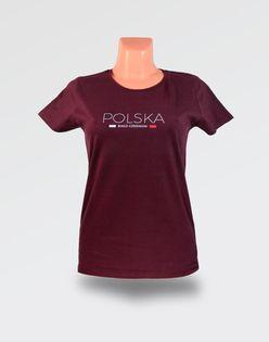 Koszulka damska Polska Biało-Czerwoni Burgund - S