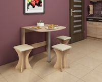 Stół składany przyścienny Alpin 6 - 80x75 cm + taborety