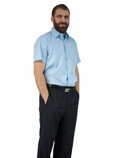 38/39 - S Elegancka koszula męska z krótkim rękawem blado niebieska