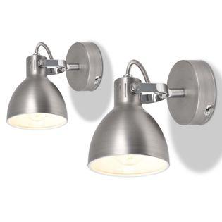 LAMPY ŚCIENNE KINKIETY 2 SZTUKI NA ŻARÓWKI E14 SZARE