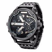 Zegarek męski Oulm 3548, 2 czasy, bransoleta, czarny, duży XXL