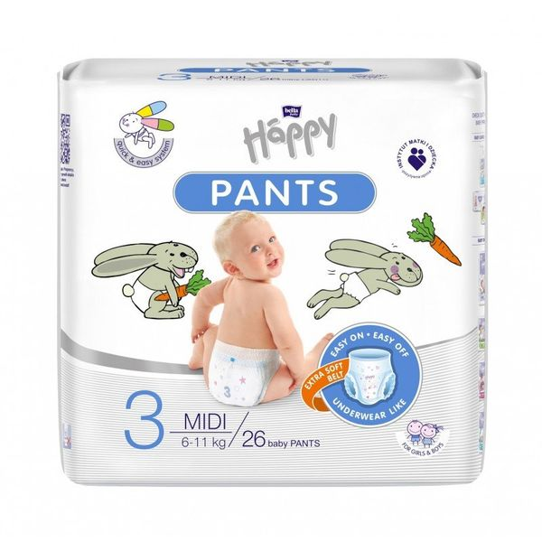 Pieluchomajtki dla dzieci Happy Pants Midi 6-11 kg 26 szt. Folia na Arena.pl