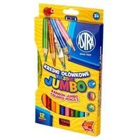 Kredki ołówkowe tęczowe Astra Jumbo 12 sztuk + temperówka