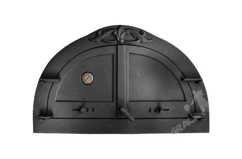 DRZWI C10 - 47X77 CM + TERMOMETR 0-500°C do pieca pizzy pizzeria żeliwne