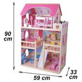 DUŻY Drewniany Domek dla lalek z mebelkami