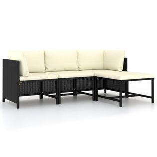 Lumarko 4-częściowa sofa ogrodowa, poduszki, rattan PE, czarna