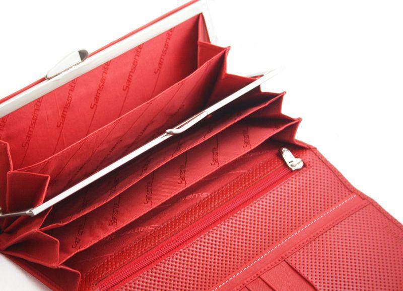 Długi, klasyczny portfel damski Samsonite, skórzany w kolorze czerwonym zdjęcie 7