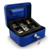 12725 Niebieska kaseta zamykana na pieniądze metalowa BITUXX +2 klucze