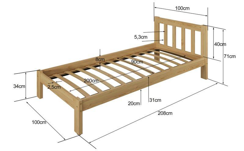 łóżko 90x200 Wysokie Ofelia Białe Szare Stelaż