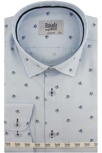 Koszula Męska Espada błękitna we wzorki z długim rękawem w kroju SLIM FIT A508 XL 43 182/188