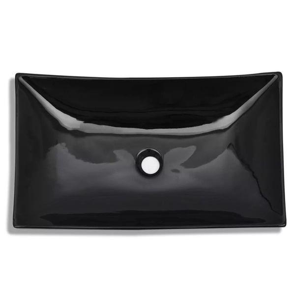 Umywalka Ceramiczna Prostokątna Czarna zdjęcie 3