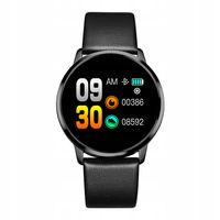 Ciśnieniomierz Smartwatch czarny skórzany pasek!