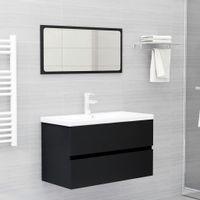 Lumarko 2-częściowy zestaw mebli łazienkowych, czarny, płyta wiórowa