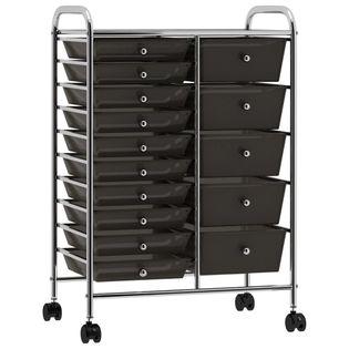 Wózek XXL z 15 szufladami czarny plastikowy VidaXL