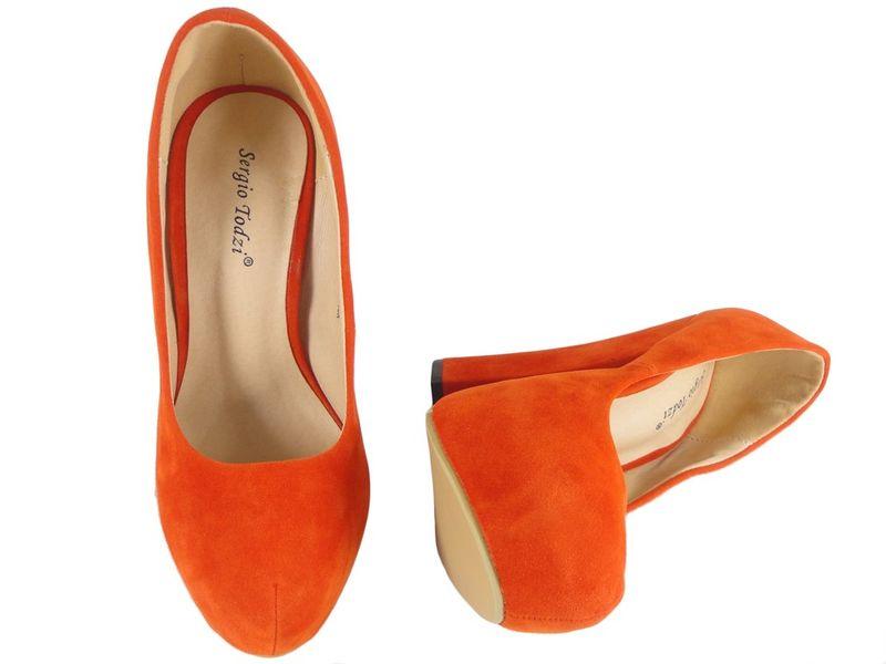 Czerwone szpilki na słupku buty zamszowe 40 zdjęcie 2