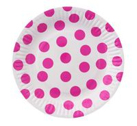 Talerzyki w GROCHY kropki różowe, 18 cm, 6 szt