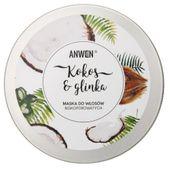 Anwen Maska do włosów niskoporowatych Kokos i Glinka - 200 ml