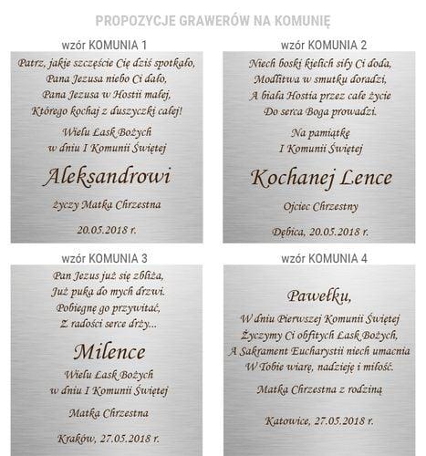 OBRAZEK SREBRNY ANIOŁEK Z MODLITWA PREZENT NA CHRZEST KOMUNIĘ + GRAWER na Arena.pl
