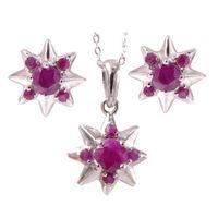 SANDRA Komplet srebrnej biżuterii z naturalny rubinami gwiazdki  3 ct.