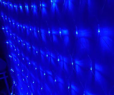 Siatka girlanda kurtyna 3.0x2.4m 160 niebieskich lampek choinkowych