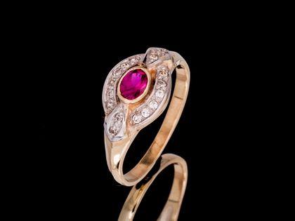 P562 Złoty pierścionek z cyrkoniami. Próba 333