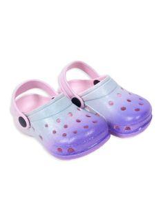 Klapki piankowe kroksy ogrodowe dziewczęce tęczowe niebiesko-fioletowe 35
