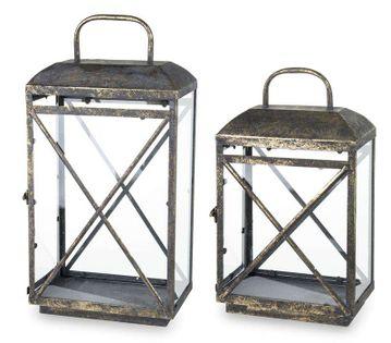 Lampion Klasyczny 2 Szt. złoty dwa rozmiary