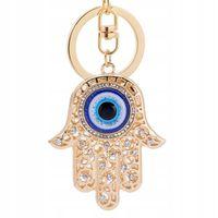Piękny brelok oko proroka hamsa fatima złota