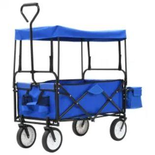 Składany wózek ręczny z zadaszeniem stalowy niebieski VidaXL
