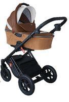 Brązowy z eco skóry wózek dziecięcy DIAMOS ECO TUTEK 3w1