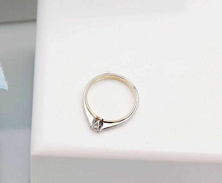 Pierścionek Zaręczynowy żółte I Białe Złoto 58514k I Diament