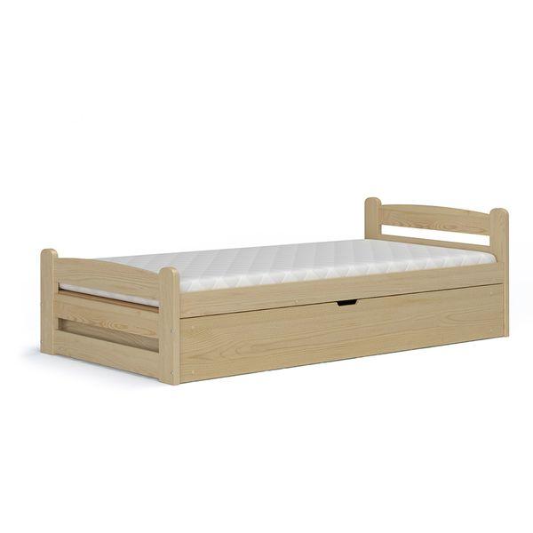łóżko Z Drewna Dragon Sosna 90x200 Z Pojemnikiem I Materacem Arenapl