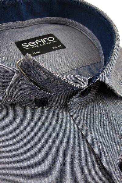 Duża Koszula Męska Sefiro gładka niebieska melanż na spinki